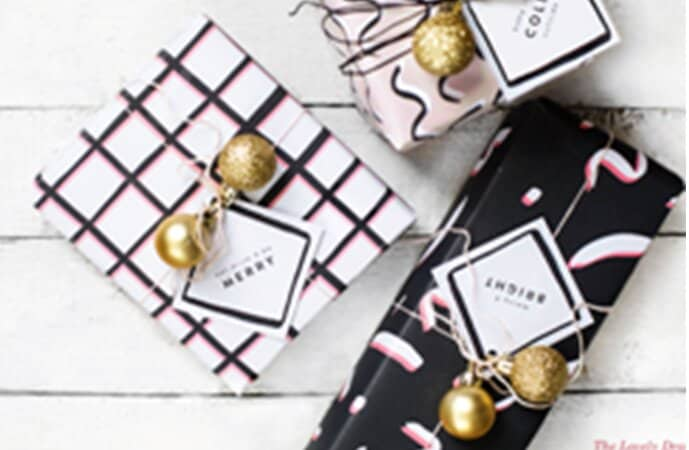 Glamorous Gift Wrapping with Glittery Ornaments
